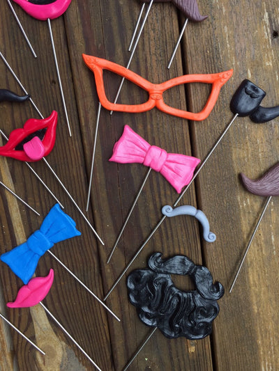 HootBooth Photo Booth props 25 Plastic Props on Steel Rods: Glasses, Ties, Pipes, Smiles, Moustaches and More