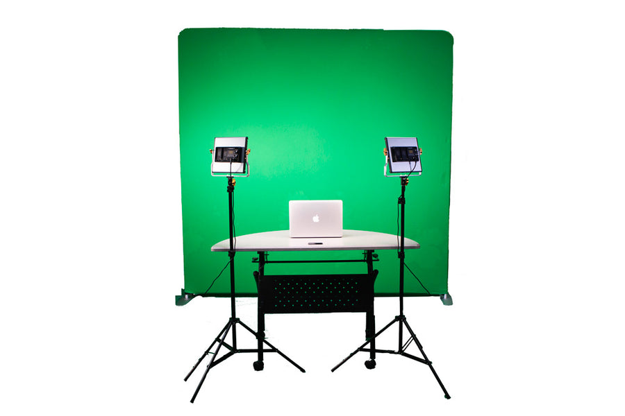 HootBooth® Zoom Videoconference Kit With Logitech C90 Pro, Video Lights & Green Screen Backdrop