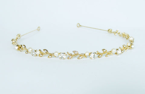 Dainty Gold Leaf & Pearl Headband