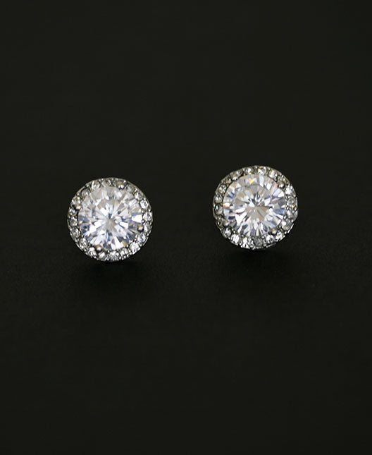 CAMILA - Large Cubic Zirconia Halo Stud Earrings