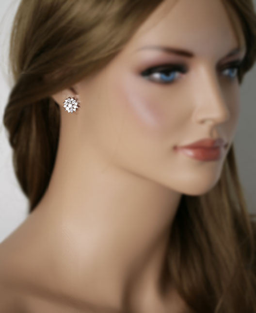 CAITLIN - Cubic Zirconia Flower  Stud Earrings