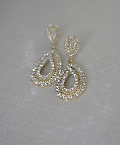 STELLA - Crystal pave earrings  ( Gold )