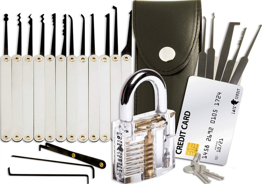 PickerKing™ Practice Lock Picking Tool Set with Transparent Learning Lock
