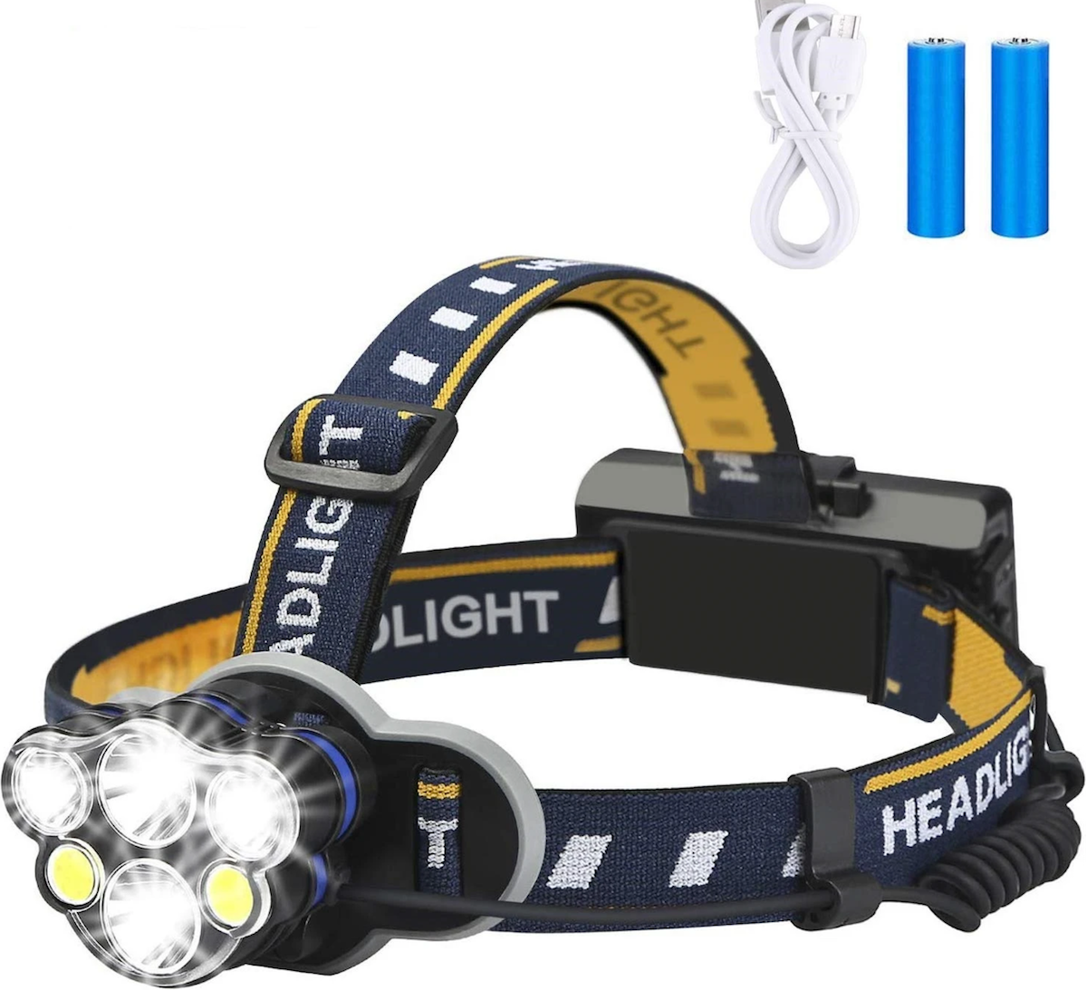 Third Eye™ LED Headlamp Rechargeable 1900 Lumen 8 Modes Best Budget