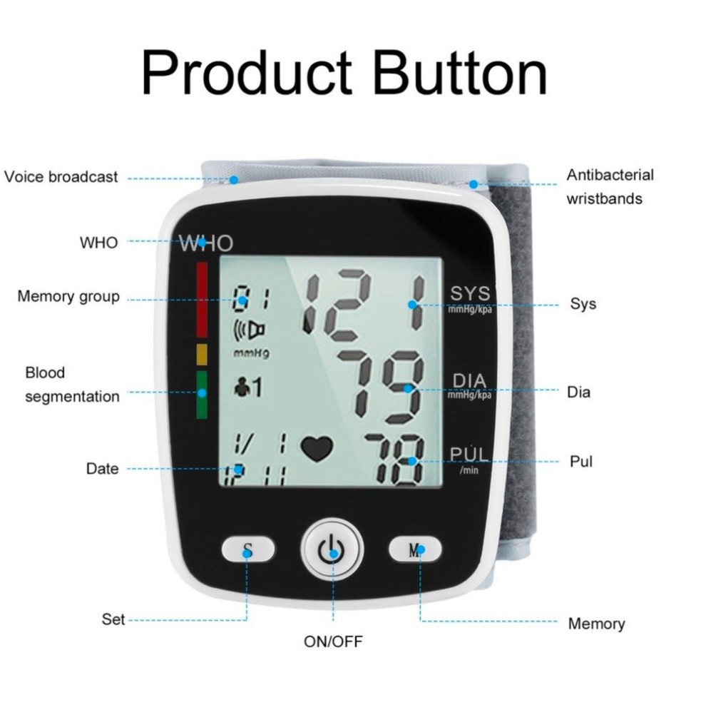 Vital BP™ Monitor Wrist Cuff Voice Results USB Digital Rechargeable Easy To Read