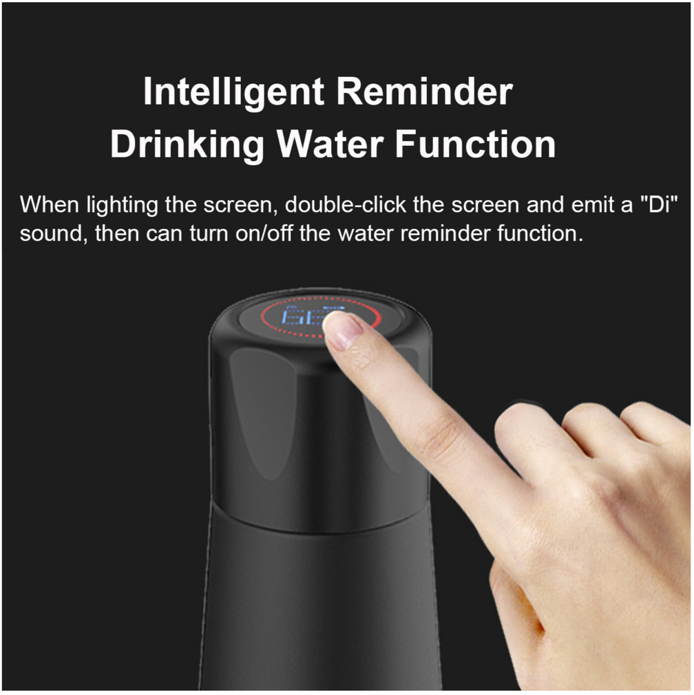 DrinkMore™ Smart Water Bottle with Reminder & Temperature LED Rechargeable Waterproof 13.5 ounces