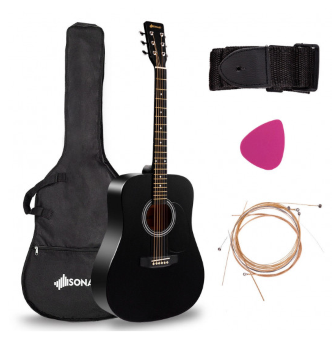 Starter Acoustic Guitar Easy 6 String 41 Inch Wood with Bag And Accessories