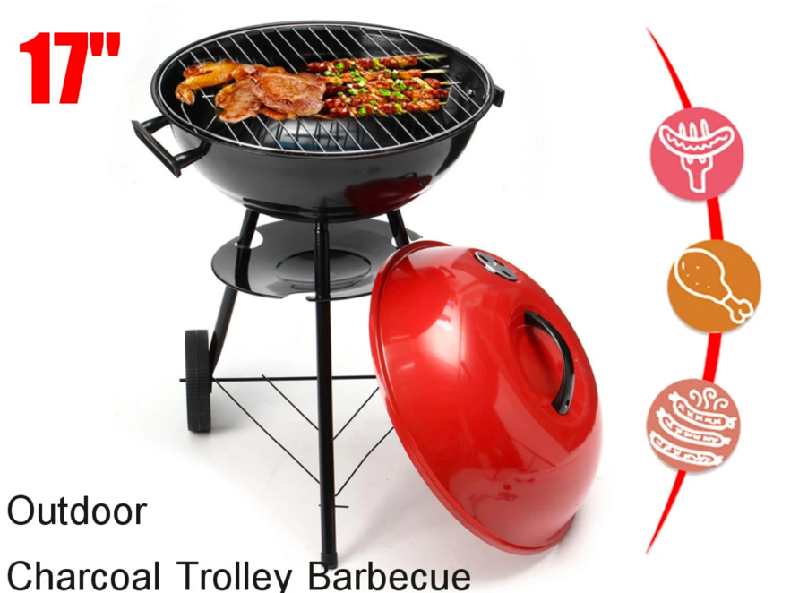 PorchPro™ Kettle Barbecue Charcoal Grill Red 17""