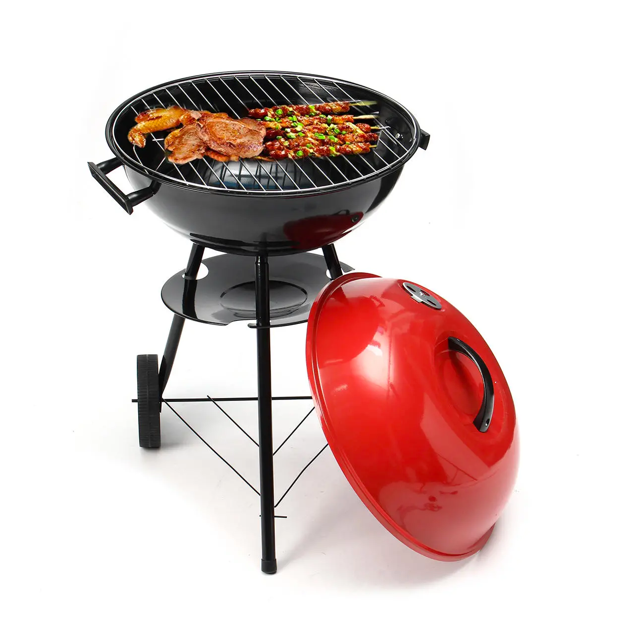 PorchPro™ Kettle Barbecue Charcoal Grill Red 17