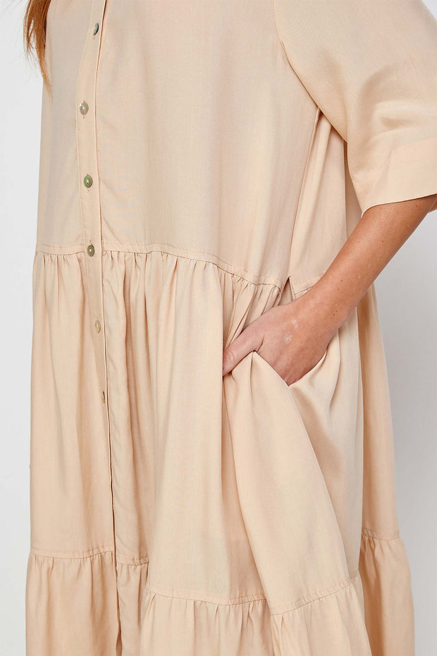 Button front tired skirt midi dress 1
