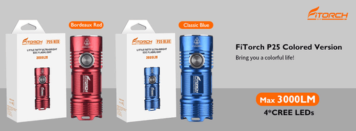 FiTorch P25 3000 Lumens Rechargeable LED EDC Flashlight - Choice of Blue or Red Flashlight FiTorch