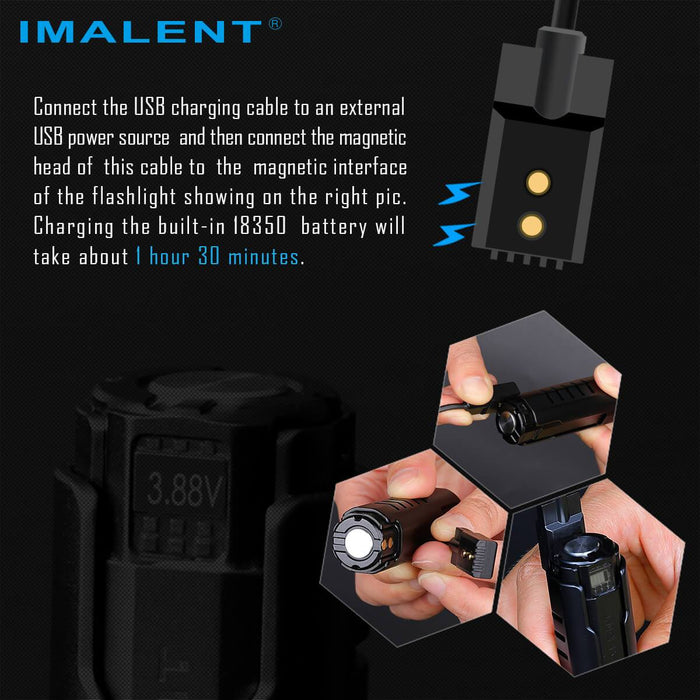 Imalent LD70 4000 Lumens Rechargeable LED Flashlight - Black