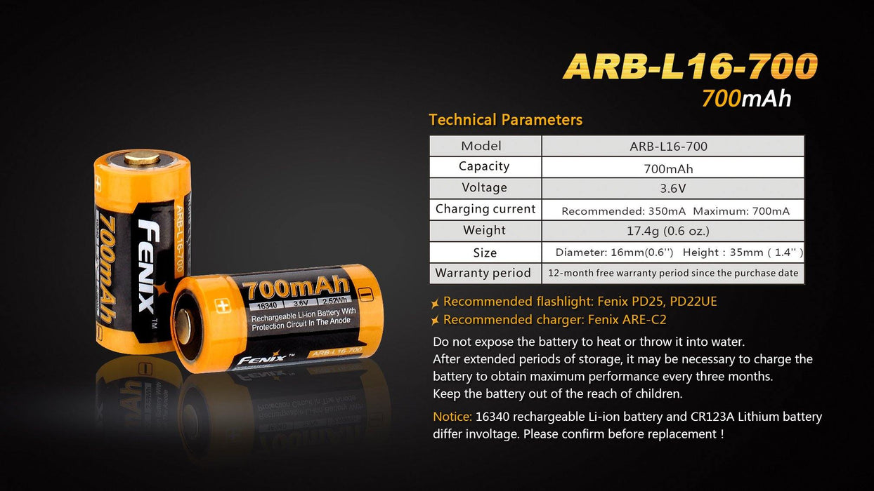 Fenix ARB-L16-700 16340 Rechargeable Lithium-Ion Battery