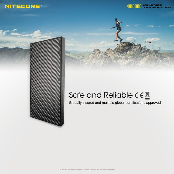 Nitecore NB10000 Carbon Fiber Power Bank Charger (10,000mAh 3A) Battery Charger Nitecore