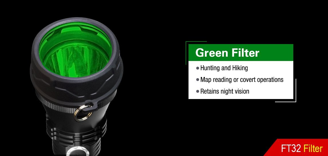 Klarus FT32 High Elastic Silicone Body Flashlight Filter (GREEN)