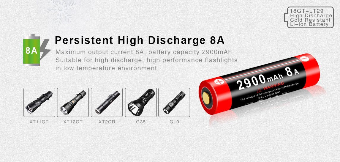 Klarus 18GT-LT29 2900mAh Cold Resistant 18650 Li-ion Battery