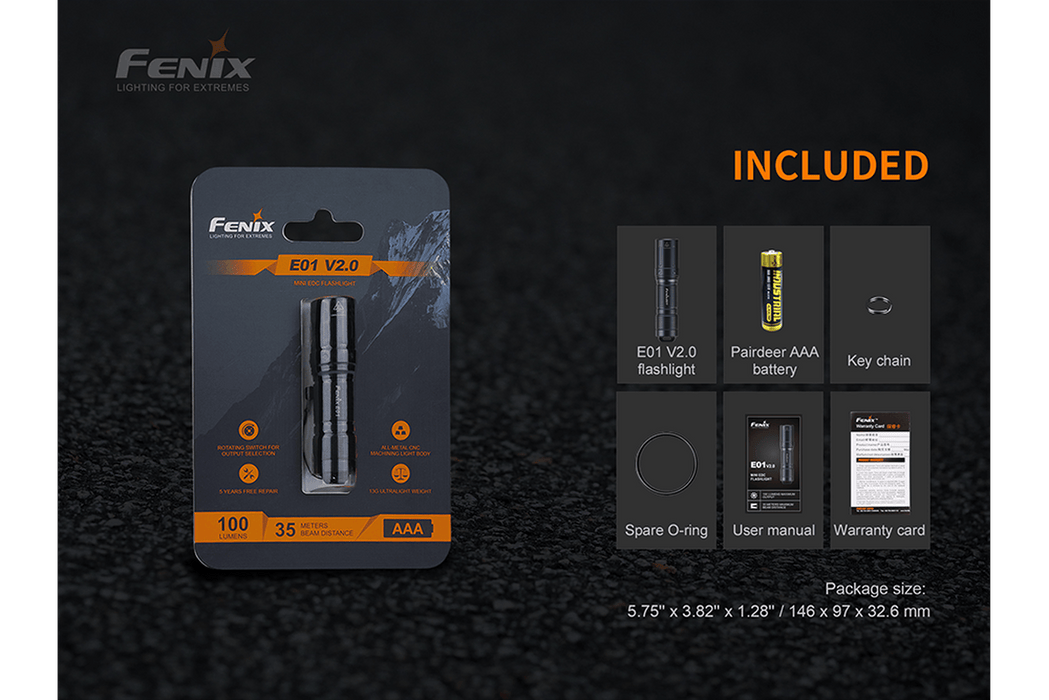 Fenix E01 V2.0 100 Lumens EDC LED Flashlight Flashlight Fenix