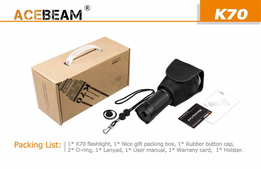 Acebeam K70 Flashlight with 4 batteries