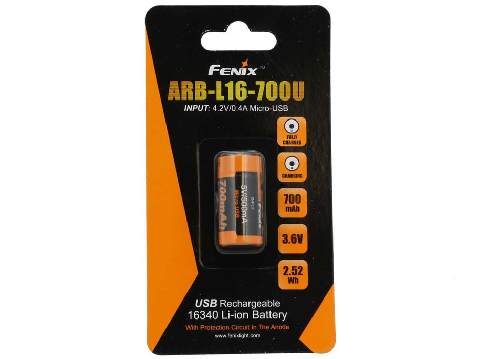 Fenix ARB-L16-700U 16340 700mAh 3.6V Lithium Ion Button Top Battery with Micro USB Charging Port
