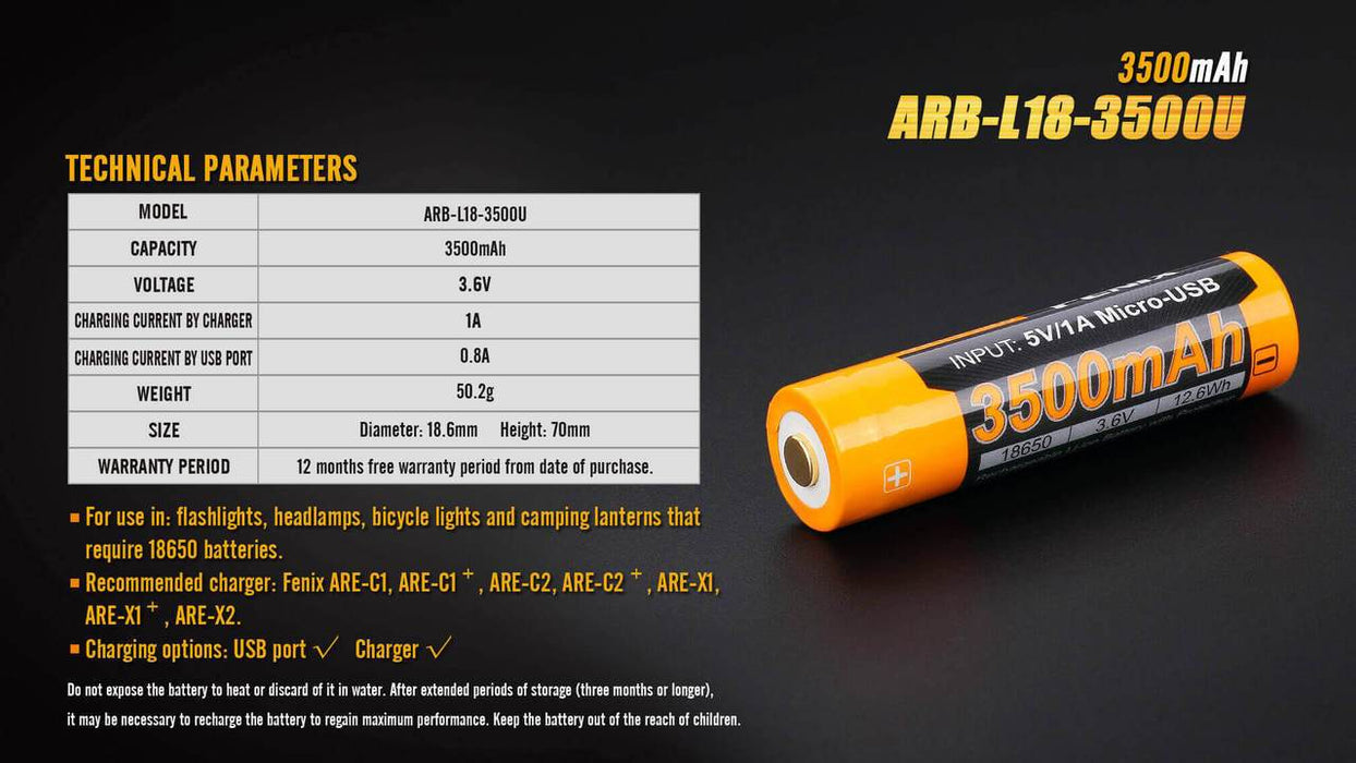 Fenix ARB-L18-3500U 18650 3500mAh 3.6V Protected Lithium Ion (Li-ion) Button Top Battery with Micro USB Charging Port