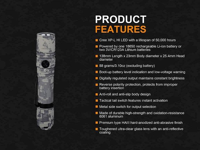 Fenix PD35 V2.0 Digital Camo Edition Tactical LED Flashlight
