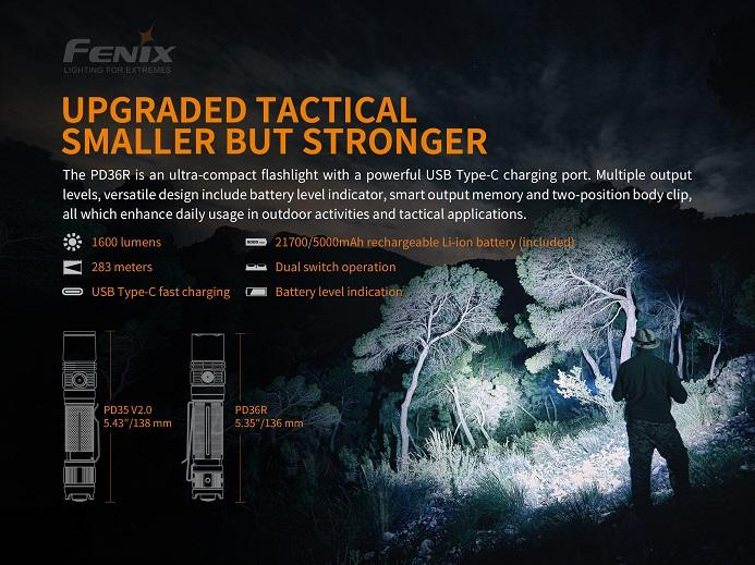 Fenix PD36R Rechargeable 1600-Lumen Tactical LED Flashlight