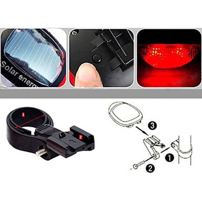 Alonefire Solar Power Energy Rechargeable LED Bicycle Rear Light