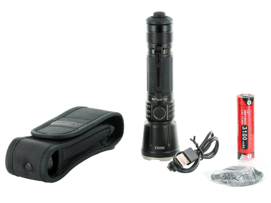 Klarus 360X3 3200 Lumens Tactical Rechargeable LED Flashlight