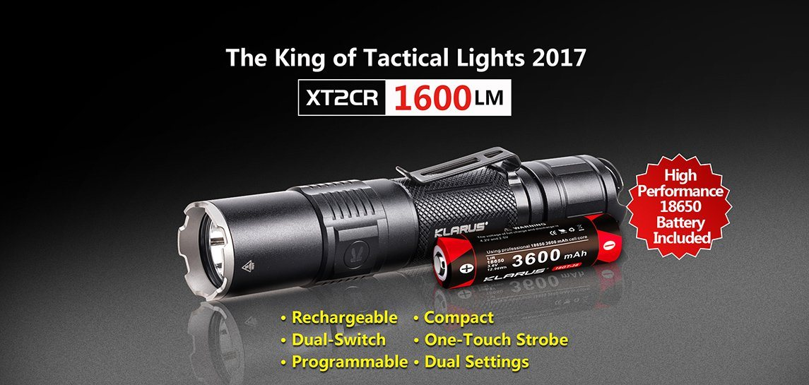 Klarus XT2CR Rechargeable Tactical LED Flashlight