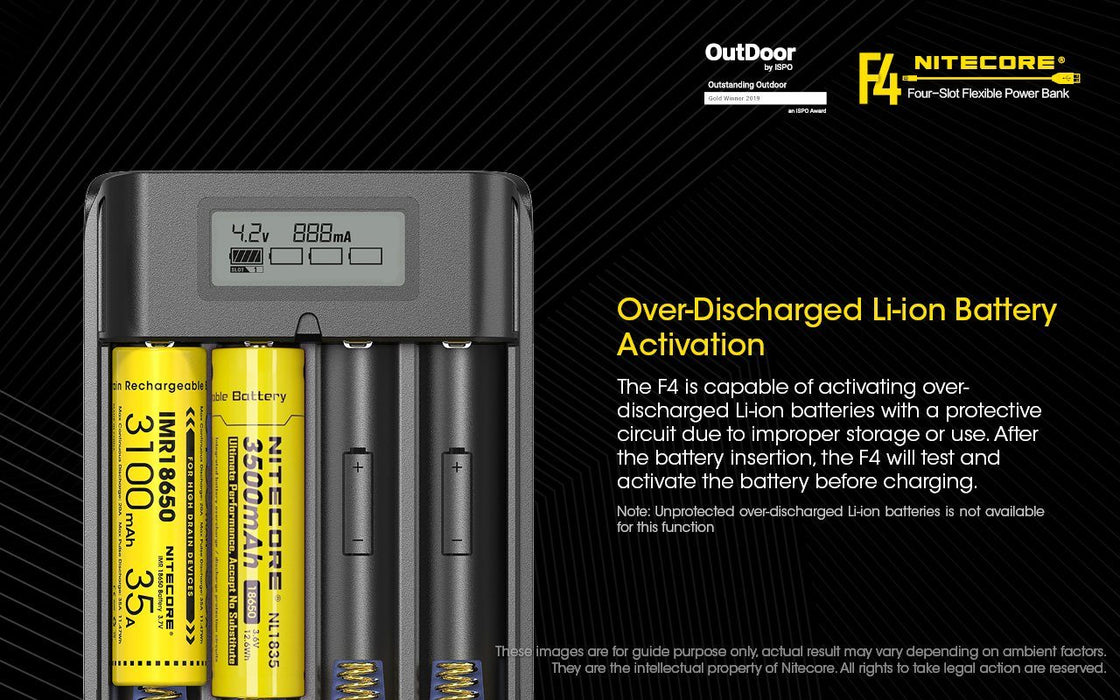Nitecore F4 Flexible Power Bank and Battery Charger