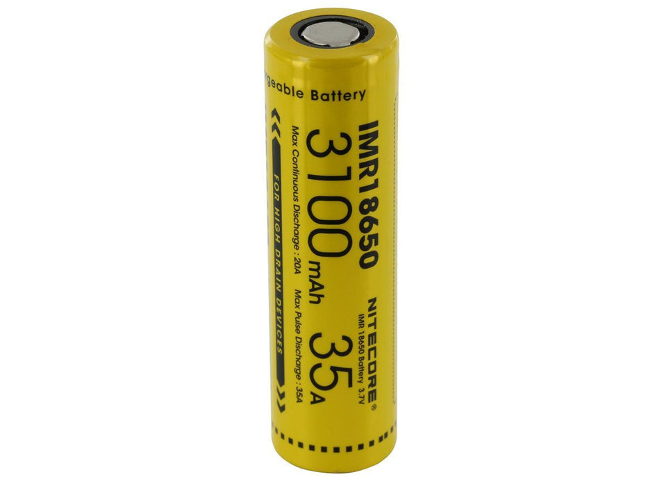 Nitecore IMR 18650 3100mAh 3.7V Unprotected High-Drain 35A Lithium Manganese (LiMn2O4) Flat Top Battery Rechargeable Batteries Nitecore