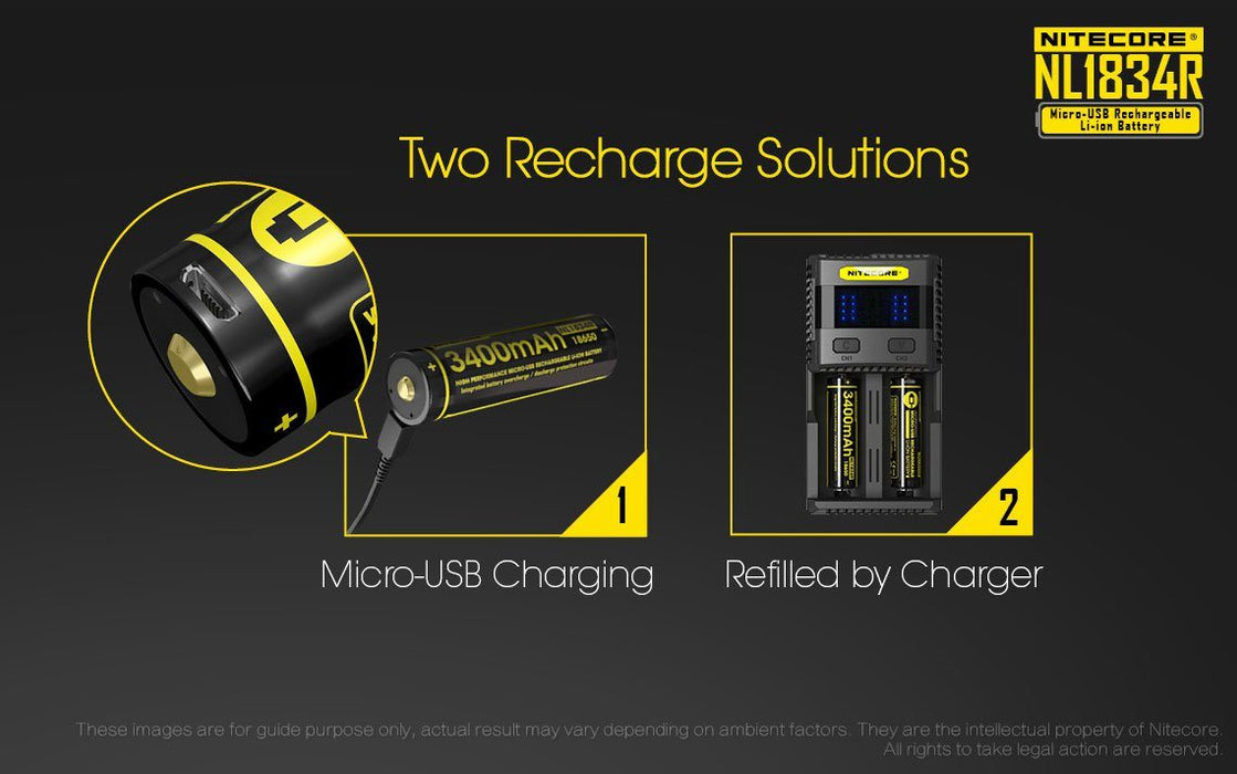 Nitecore NL1834R 18650 3400mAh 3.6V Protected Lithium Ion (Li-ion) Button Top Battery with Built In Micro-USB Charging Port