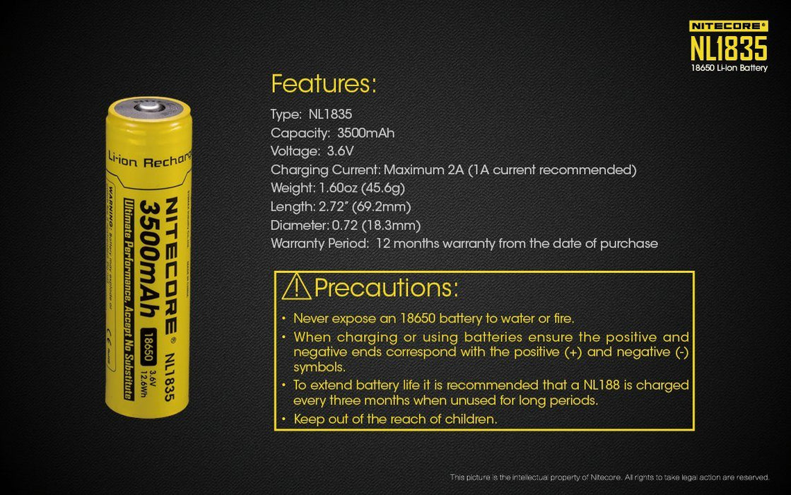 Nitecore NL1835 18650 3500mAh 3.6V Protected Lithium Ion (Li-ion) Button Top Battery Rechargeable Batteries Nitecore