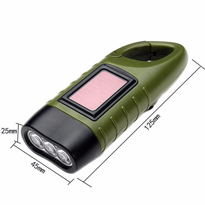 Rechargeable Hand Crank and solar LED Camping Flashlight
