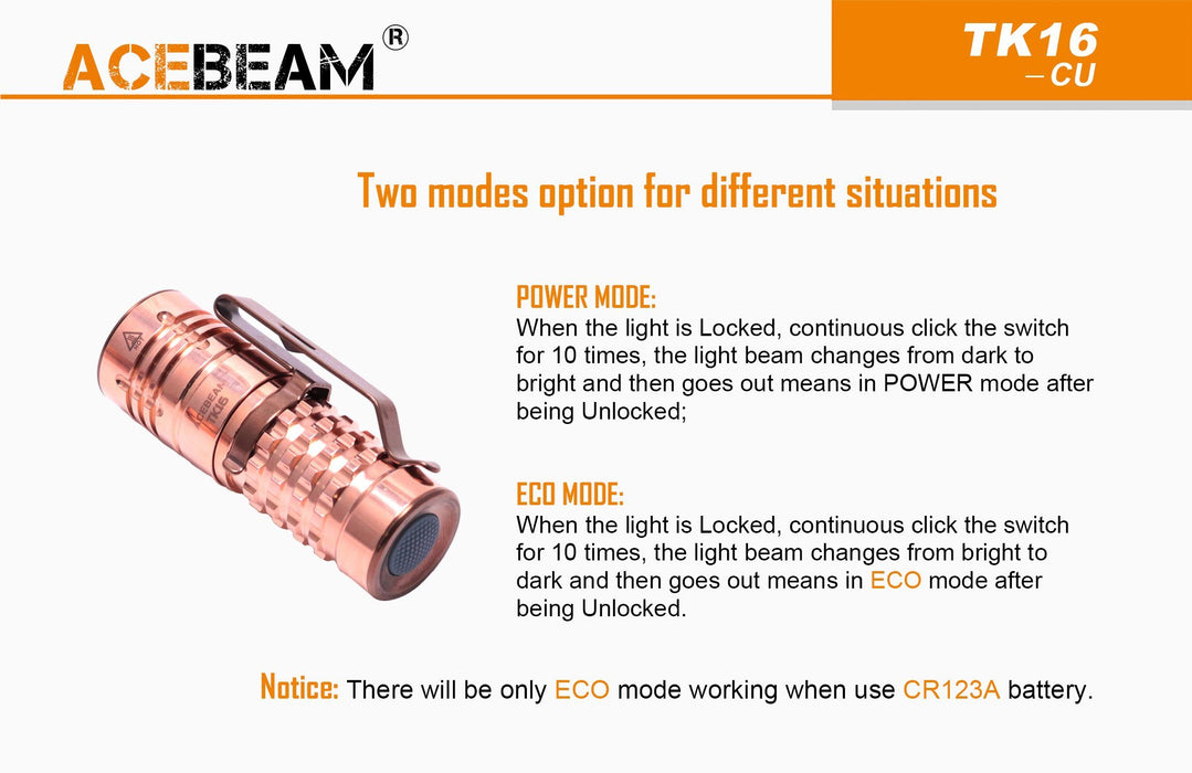 Acebeam TK16 EDC Solid Copper LED Flashlight