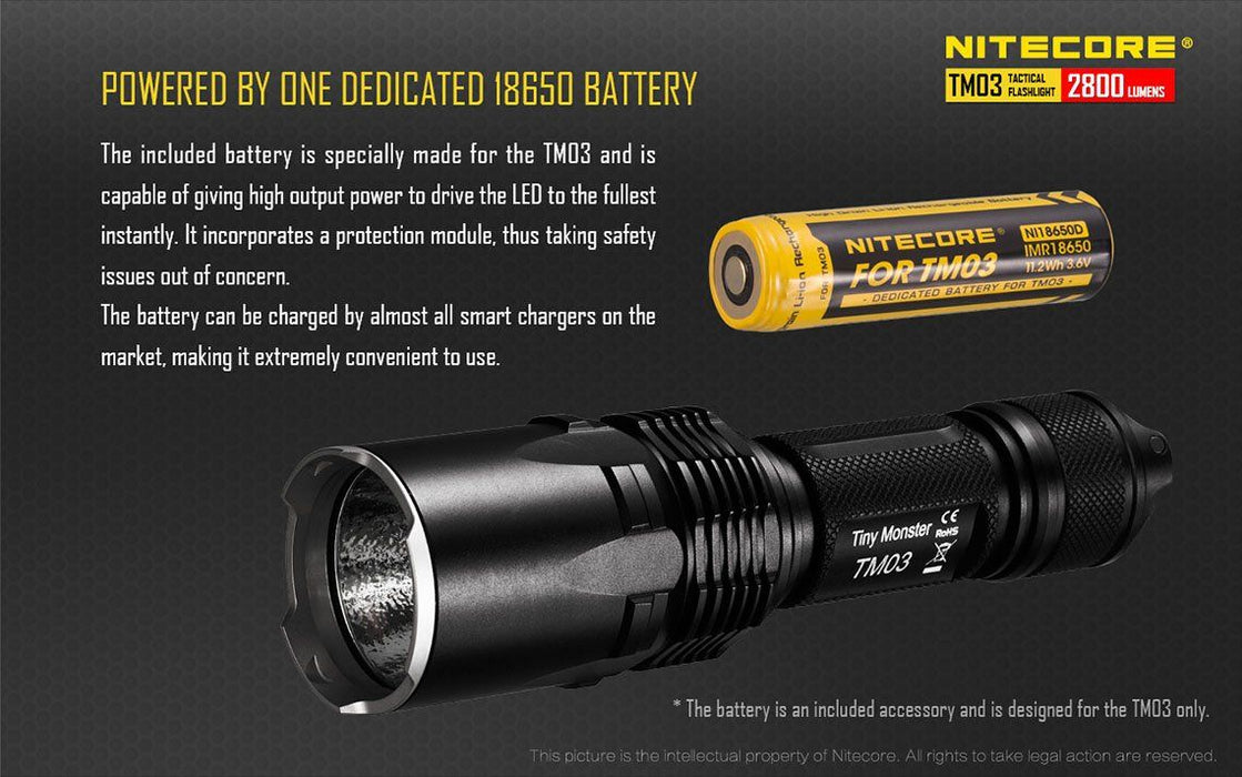 Nitecore IMR NI18650D Battery for the TM03 Flashlight