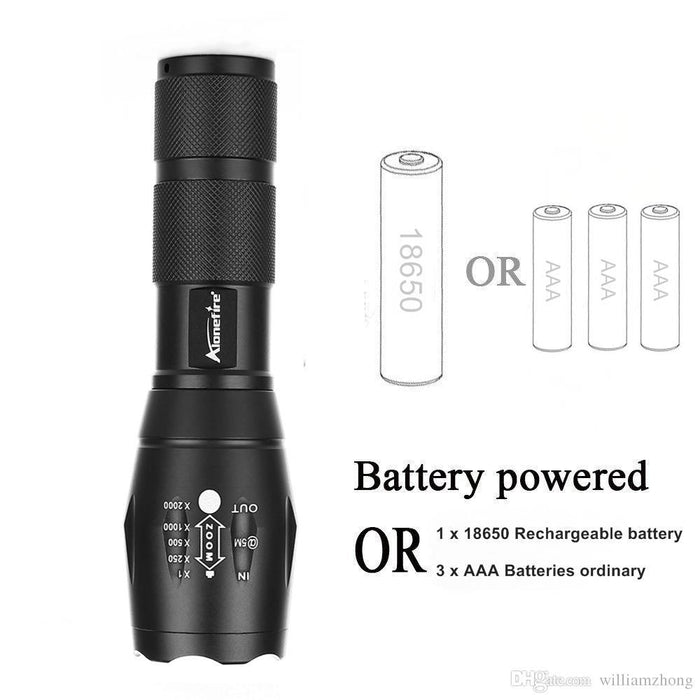 Zoomable LED Tactical Military Flashlight - 1040 Lumens with kit