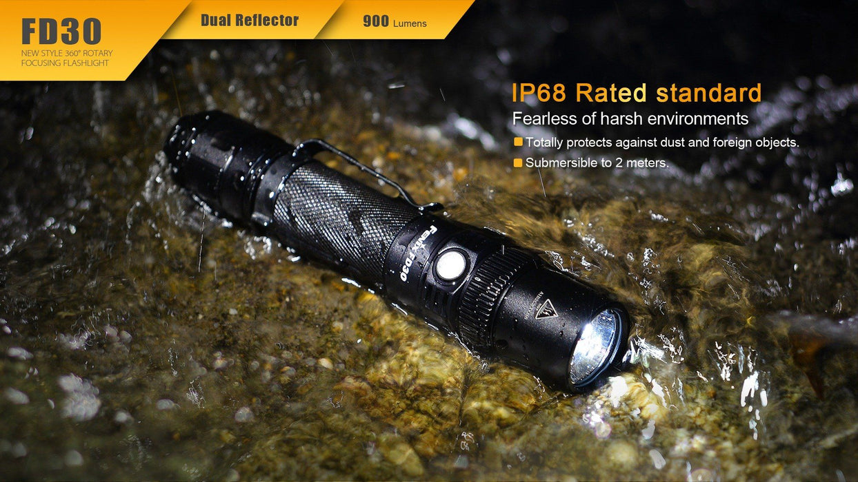 Fenix FD30 Focus Beam LED Flashlight - Spot to Flood Beam With Max of 900 Lumens