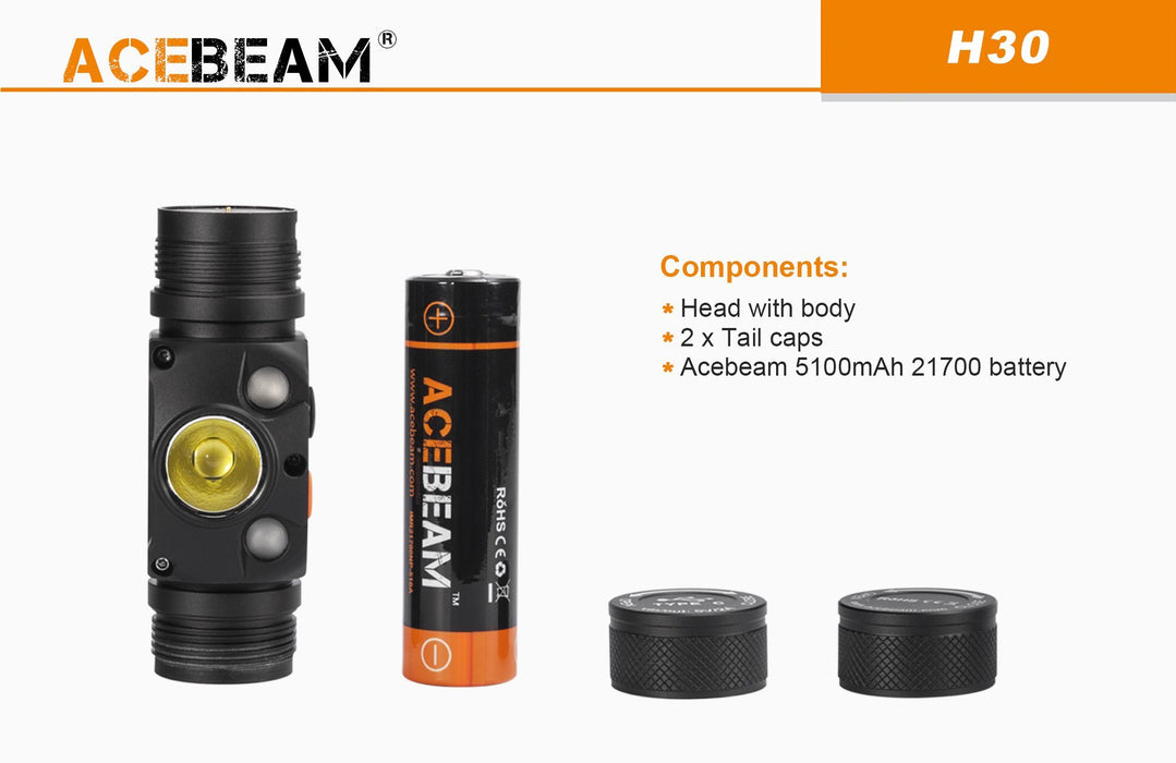 Acebeam H30 - 4000 lumens R & G rechargeable Headlamp