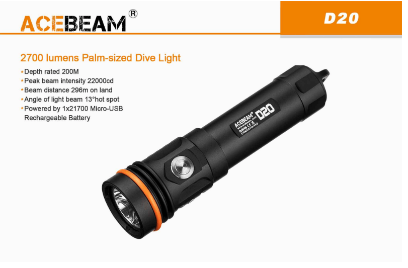 Acebeam D20 Diving Flashlight