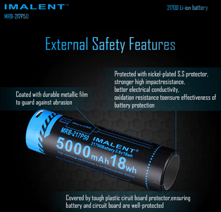 Imalent MRB-217P50 USB RECHARGEABLE LI-ION BATTERY 5000mAh