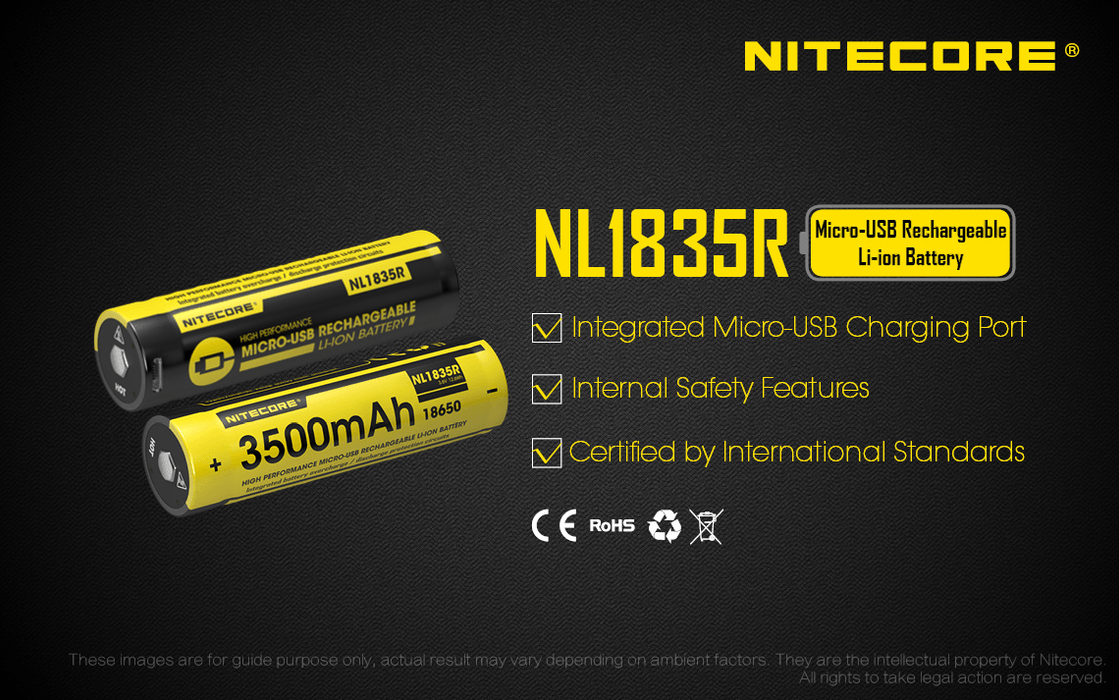 Nitecore NL1835R 3.6V 3500mAh Mirco-USB Directly Rechargeable 18650 Li-ion Battery