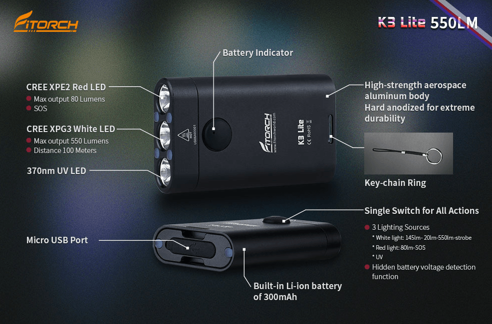 Fitorch K3 Lite Mini Keychain LED  Flashlight