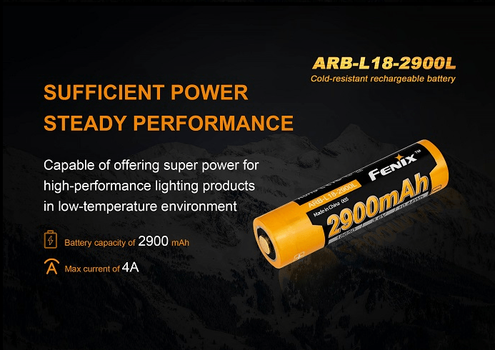 Fenix ARB-L18-2900L Cold Resistant Rechargeable Battery