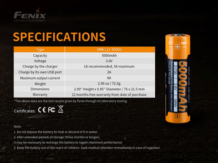 Fenix ARB-L21-5000U Li-ion Rechargeable 21700 Battery