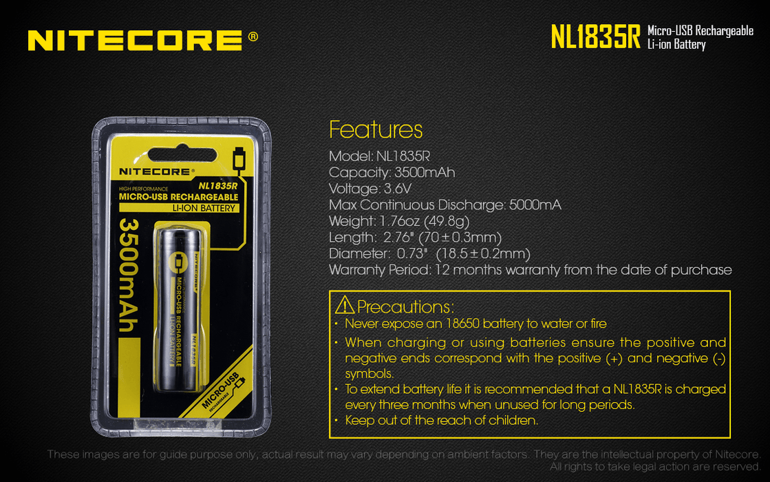 Nitecore NL1835R 3.6V 3500mAh Micro-USB Rechargeable 18650 Li-ion Battery