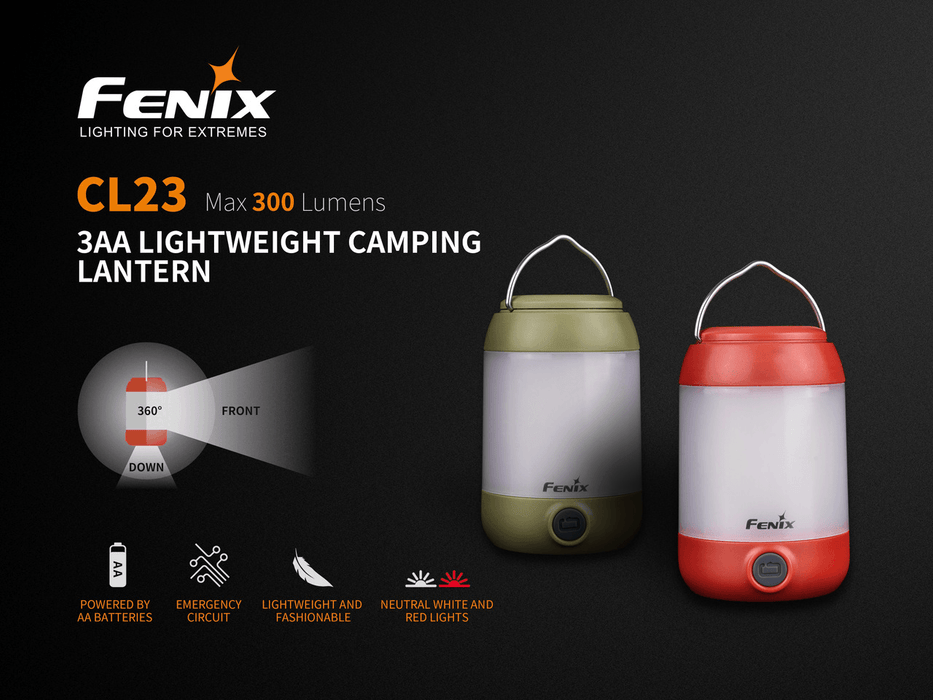 Fenix CL23 Lightweight LED Camping Lantern, Red