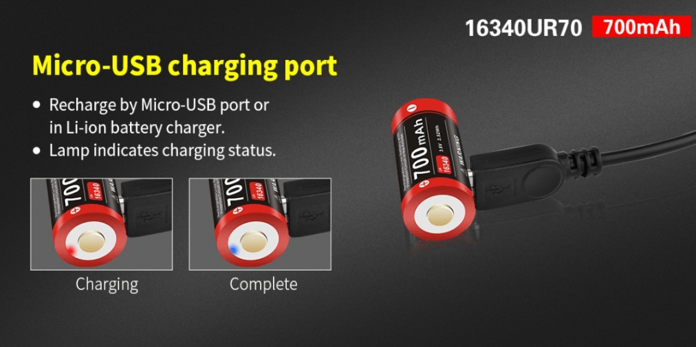 Klarus 16340-700mAh Rechargeable Battery with integrated MICRO USB charge port