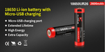 Klarus 18650 Rechargeable Battery (2600mAh) with MICRO USB Charge Port