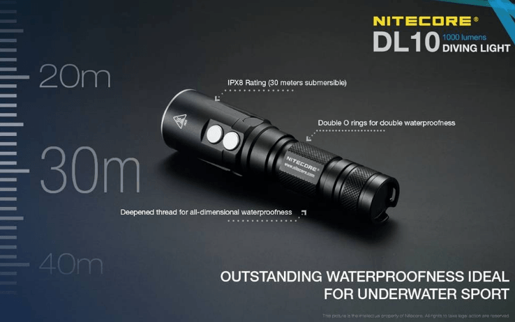 Nitecore DL10 1000 Lumen White/Red LED 30M Submersible Waterproof Dive Light